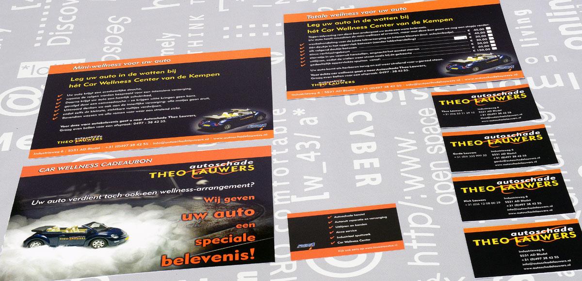 Theo Lauwers Autoschade, reclame, ontwerp, huisstijl, grafische vormgeving, fotografie, DTP, reclame-uiting, cadeaubon, portfolio