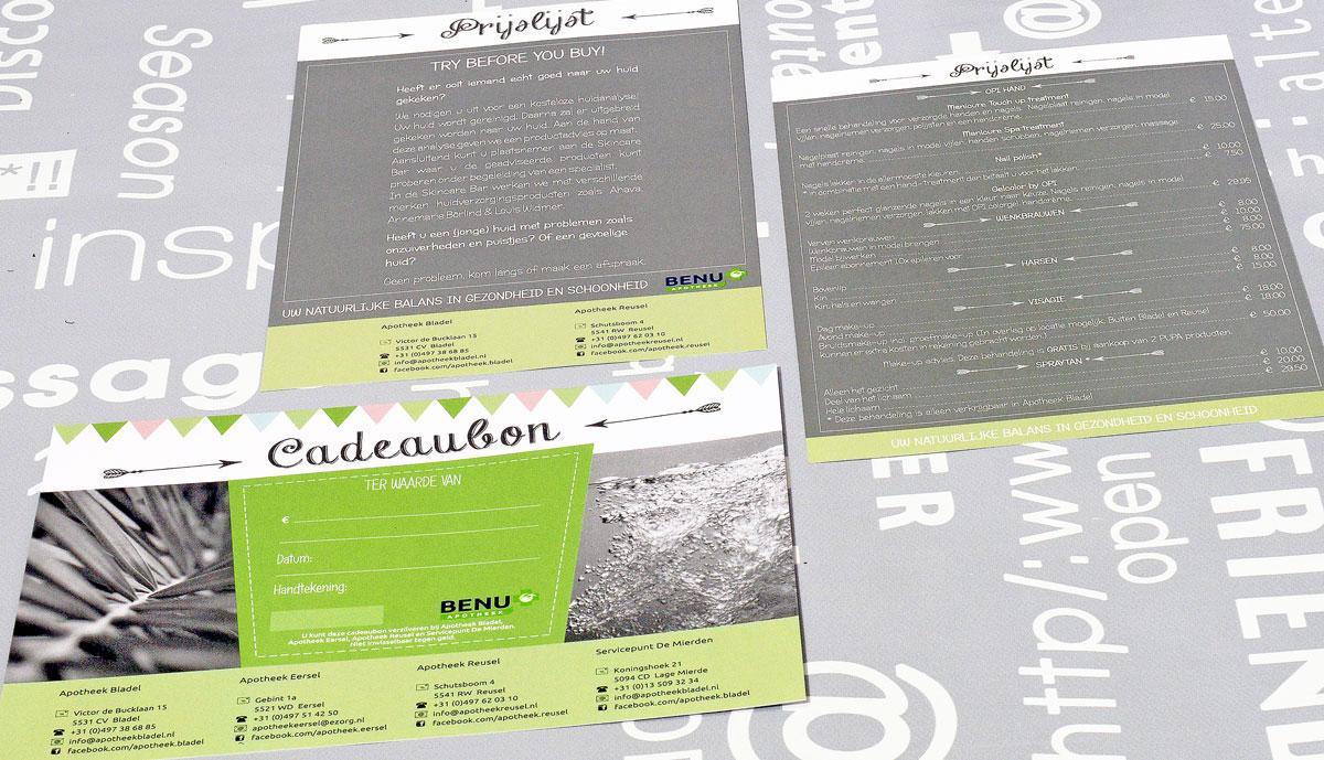 BENU Apotheek, reclame, ontwerp, huisstijl, grafische vormgeving, DTP, reclame-uiting, cadeaubon, prijslijst, portfolio