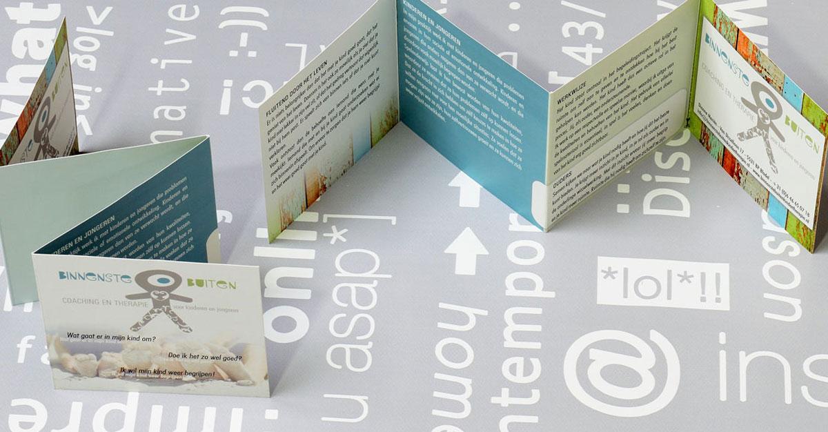 BinnensteBuiten, reclame, ontwerp, logo, huisstijl, grafische vormgeving, DTP, reclame-uiting, brochure, Portfolio