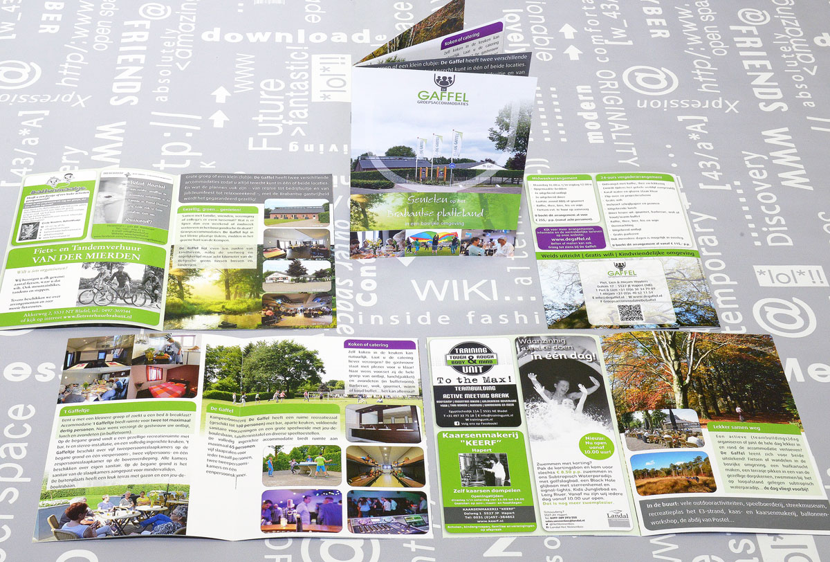 De Gaffel Groepsaccommodaties, reclame, ontwerp, logo, huisstijl, grafische vormgeving, fotografie, DTP, reclame-uiting, brochure, portfolio