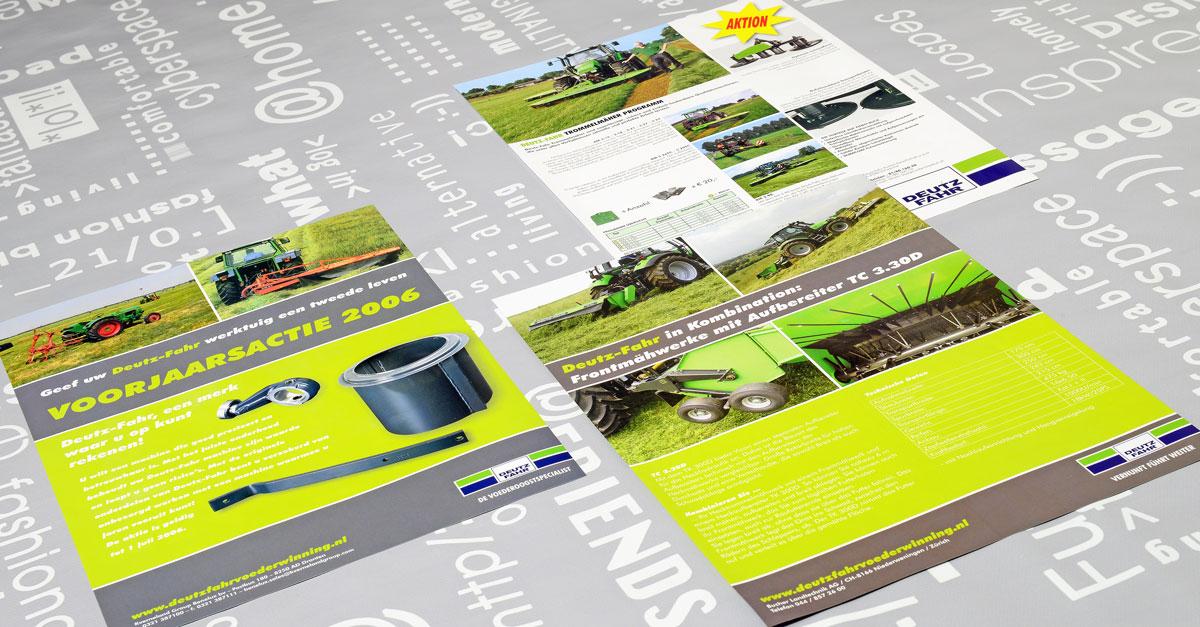 Deutz Fahr, reclame, ontwerp, huisstijl, grafische vormgeving, DTP, reclame-uiting, flyers, Portfolio