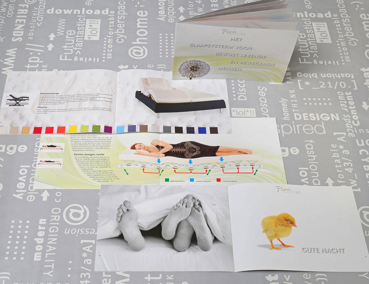 Flow Sleeping, reclame, ontwerp, grafische vormgeving, product illustratie, DTP, reclame-uiting, brochure, Portfolio