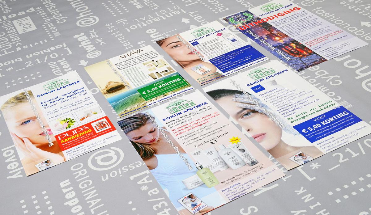 Romijn Apotheek, reclame, ontwerp, huisstijl, grafische vormgeving, DTP, reclame-uiting, flyers, Portfolio