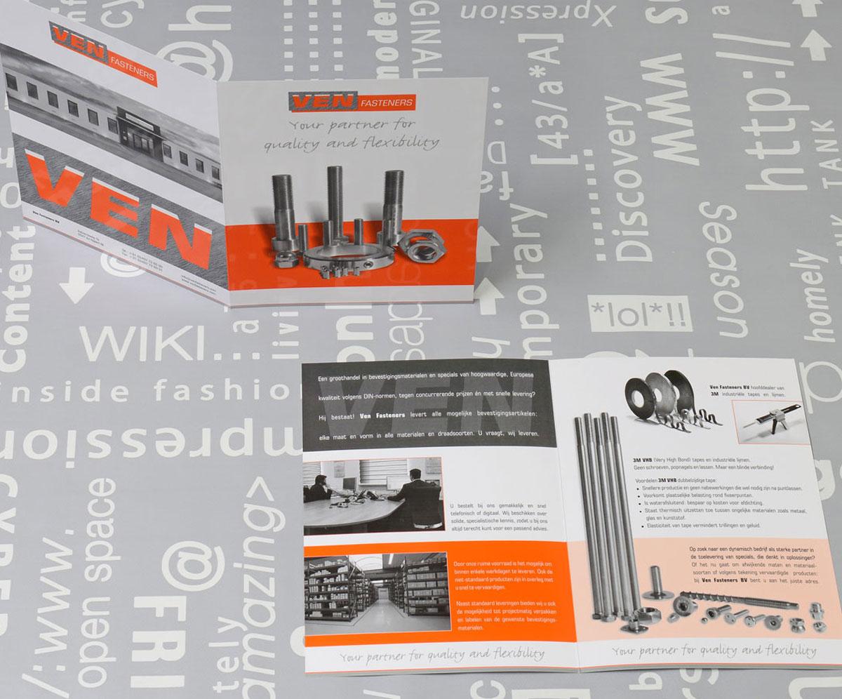 Ven Fasteners, reclame, ontwerp, logo, huisstijl, grafische vormgeving, bedrijfsfotografie, DTP, reclame-uiting, brochure, Portfolio