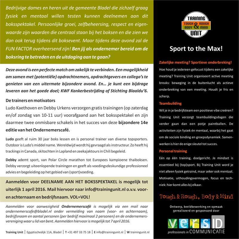 OBGB Ondernemerscafé, Boksgala, Goede doel, KWF, Stichting Blaaldu'6, Marc de Bonte, Training Unit, nieuws