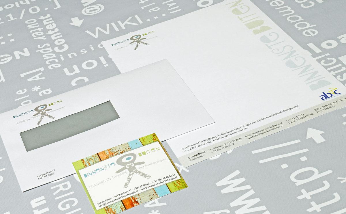 BinnensteBuiten, reclame, ontwerp, logo, huisstijl, grafische vormgeving, DTP, visitekaartjes, Portfolio
