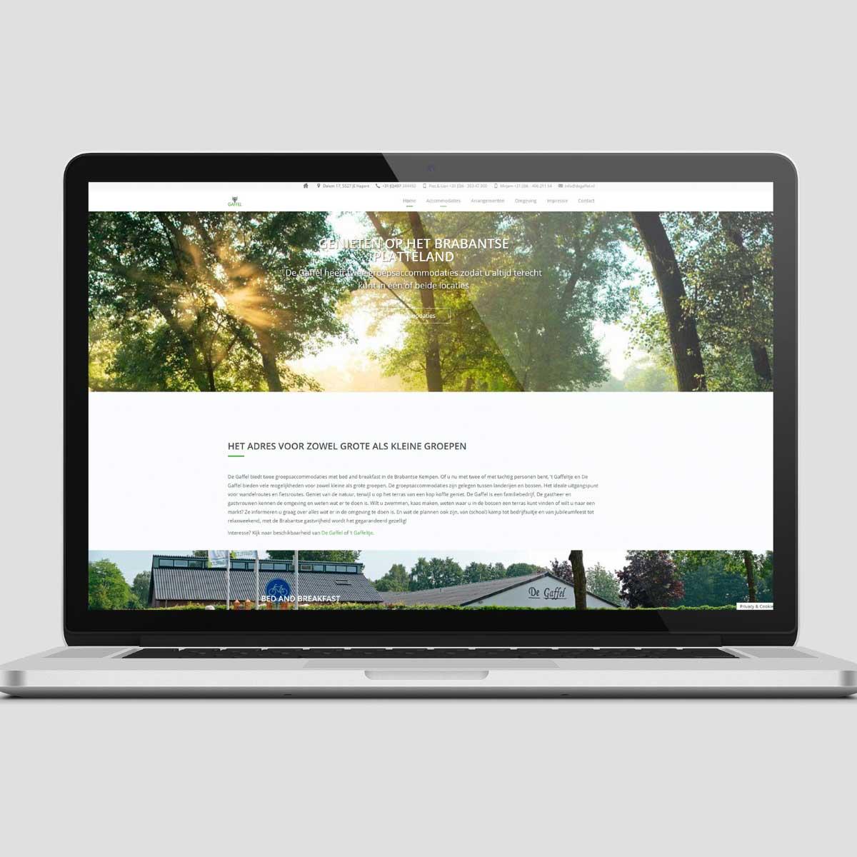 Webdesign voor De Gaffel groepsaccommodatie in Dalem, Hapert.