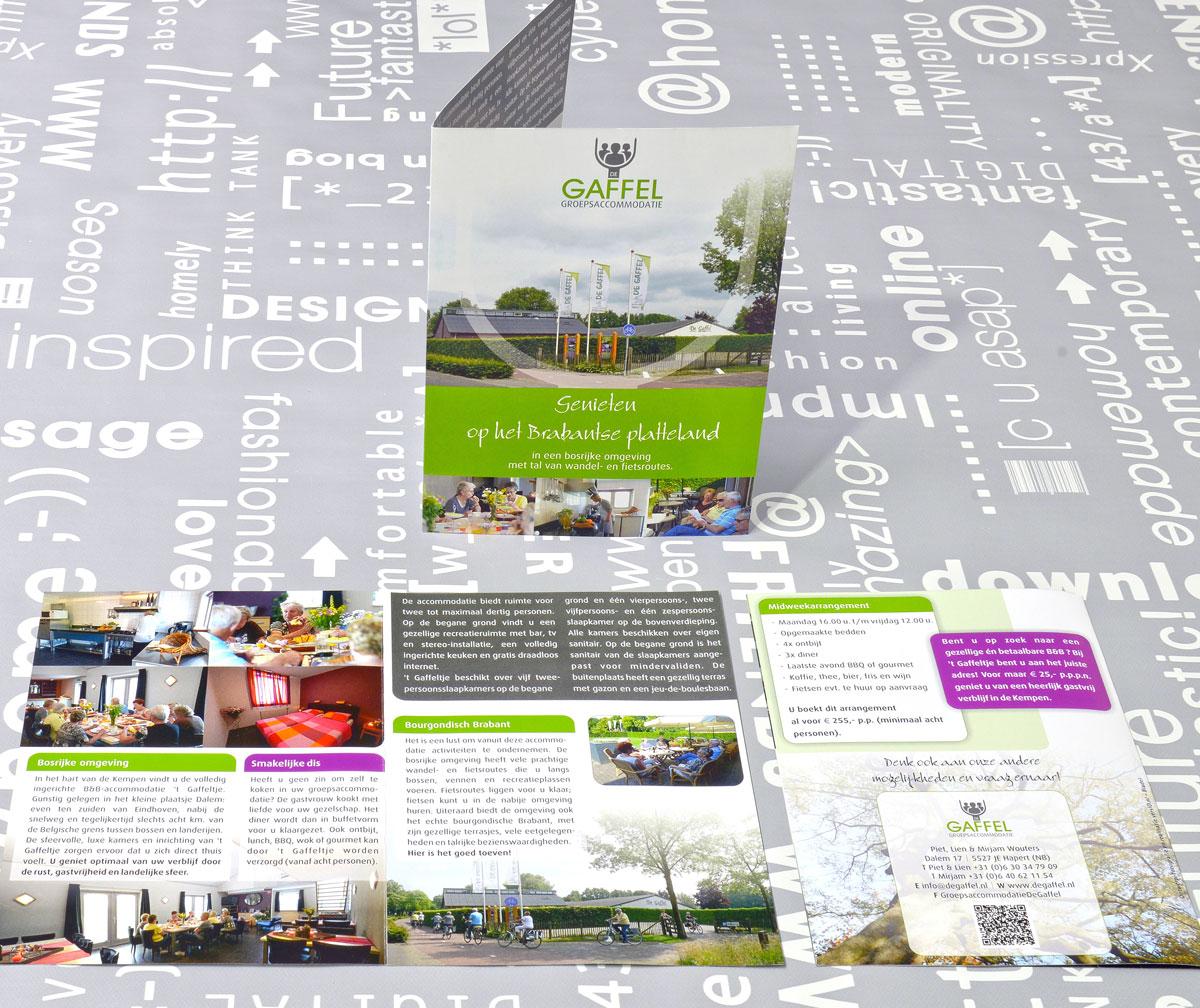 De Gaffel Groepsaccommodaties, reclame, ontwerp, logo, huisstijl, grafische vormgeving, fotografie, tekst, DTP, reclame-uiting, brochure, portfolio