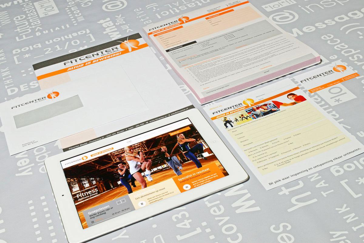 Fitcenter, reclame, ontwerp, huisstijl, grafische vormgeving, DTP, visitekaartjes.