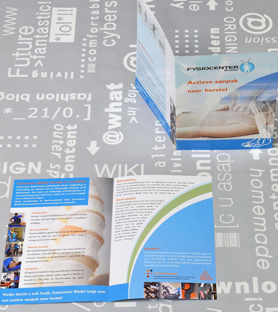 Fysiocenter, reclame, ontwerp, huisstijl, grafische vormgeving, bedrijfsfotografie, DTP, reclame-uiting, brochure, Portfolio