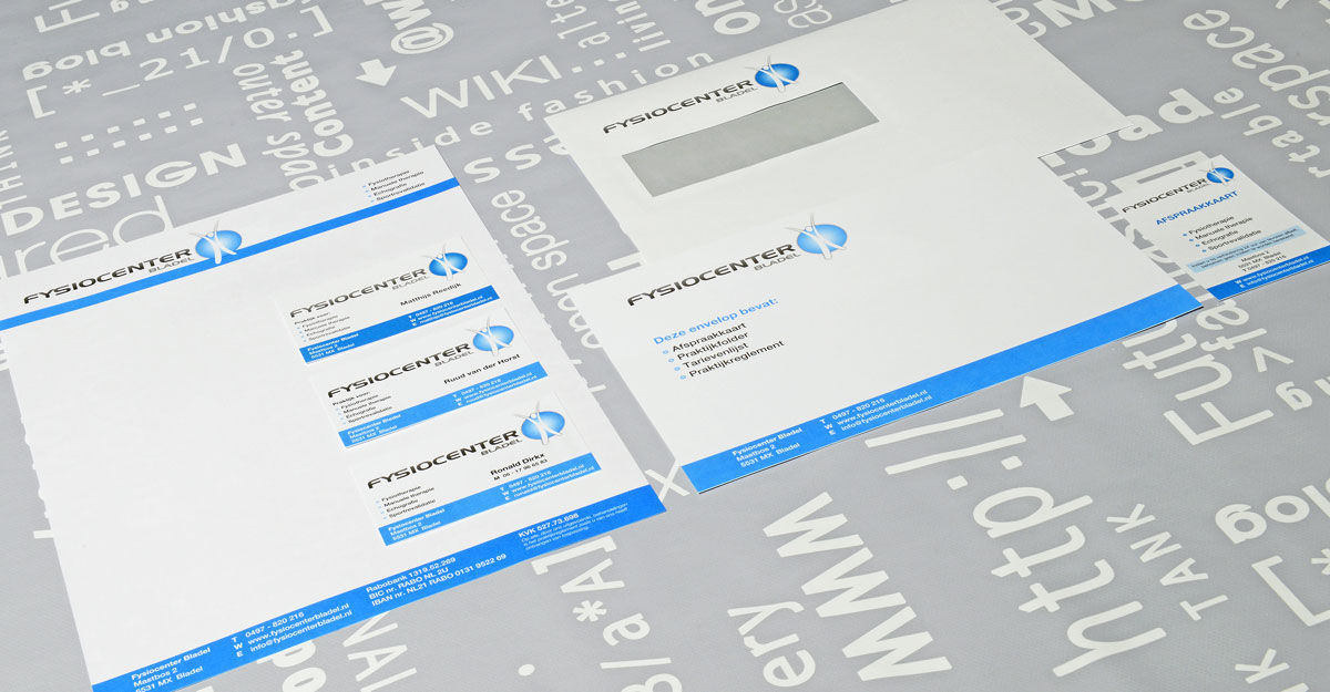 Fysiocenter, reclame, ontwerp, grafische vormgeving, DTP, huisstijl, visitekaartjes, facebook