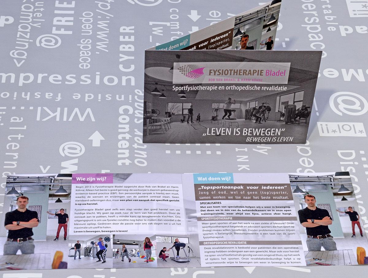 Fysiotherapie Bladel, reclame, ontwerp, huisstijl, grafische vormgeving, bedrijfsfotorafie, tekst, DTP, reclame-uiting, brochure, portfolio