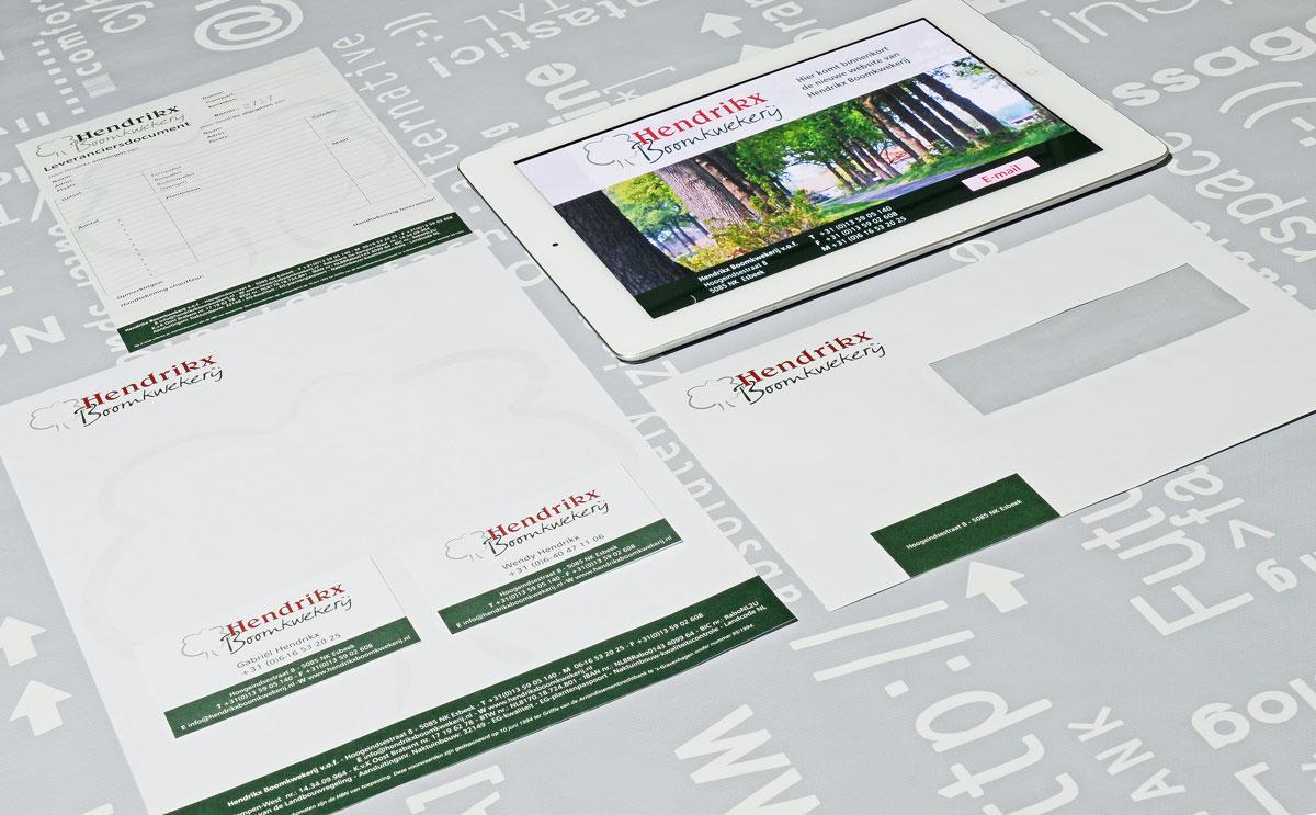Hendrikx Boomkwekerij, reclame, ontwerp, grafische vormgeving, DTP, logo, huisstijl, visitekaartjes.