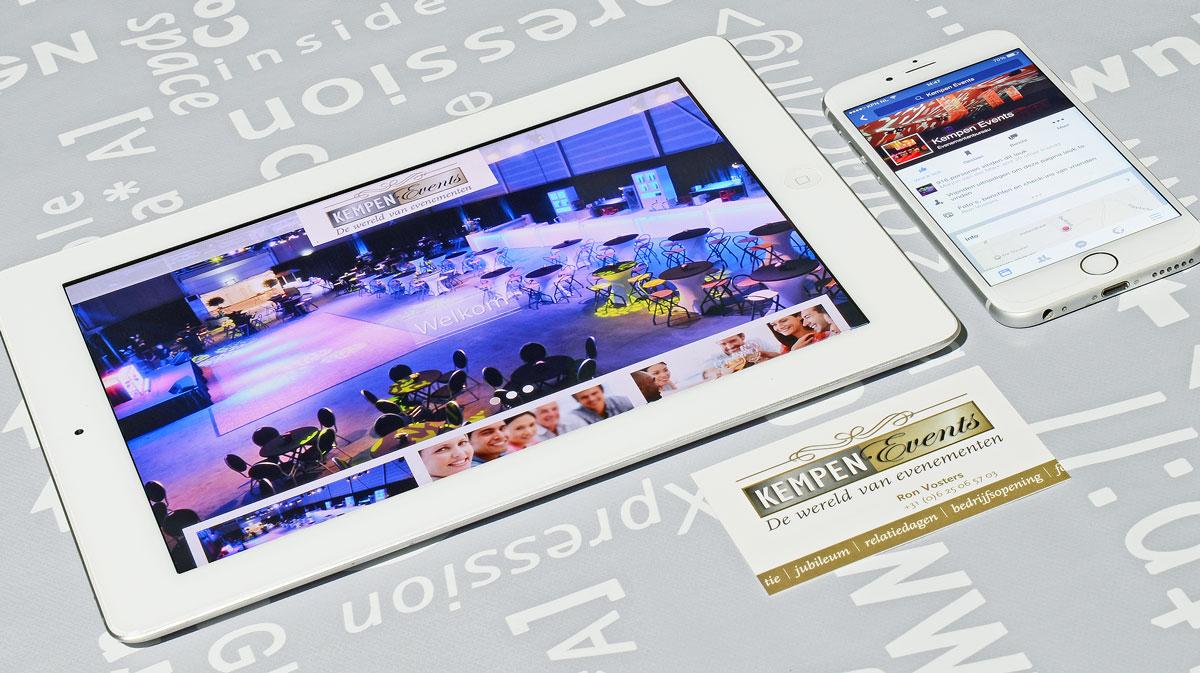 Kempen Events, reclame, ontwerp, logo, huisstijl, grafische vormgeving, DTP, visitekaartjes, facebook