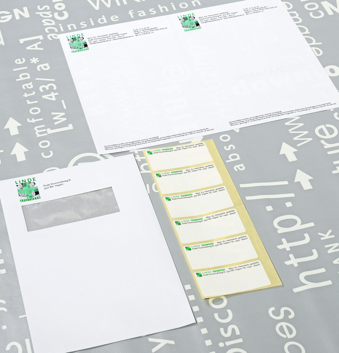 Linde Apotheek, reclame, ontwerp, logo, huisstijl, grafische vormgeving, DTP, etiketten, versid, Bladel
