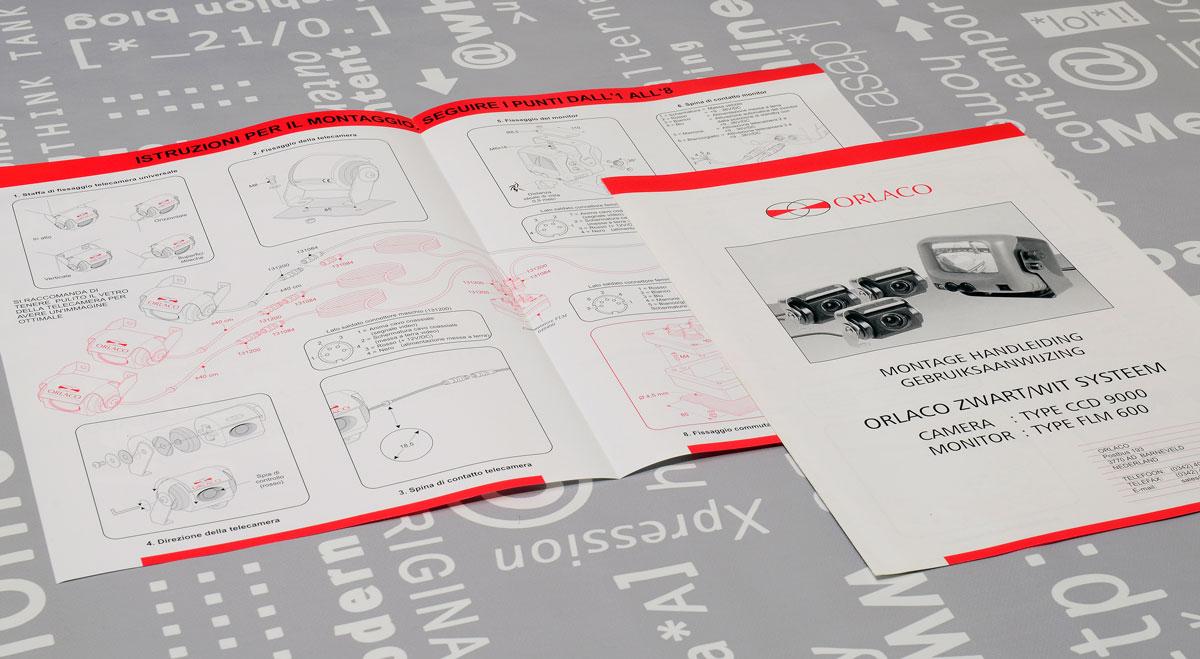 Orlaco, Technische illustraties, Technische handleidingen, Technische documentatie, Gebruikershandleiding
