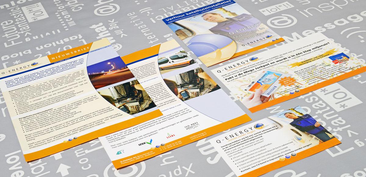 Q-Energy, reclame, ontwerp, logo, huisstijl, grafische vormgeving, DTP, reclame-uiting, flyers.