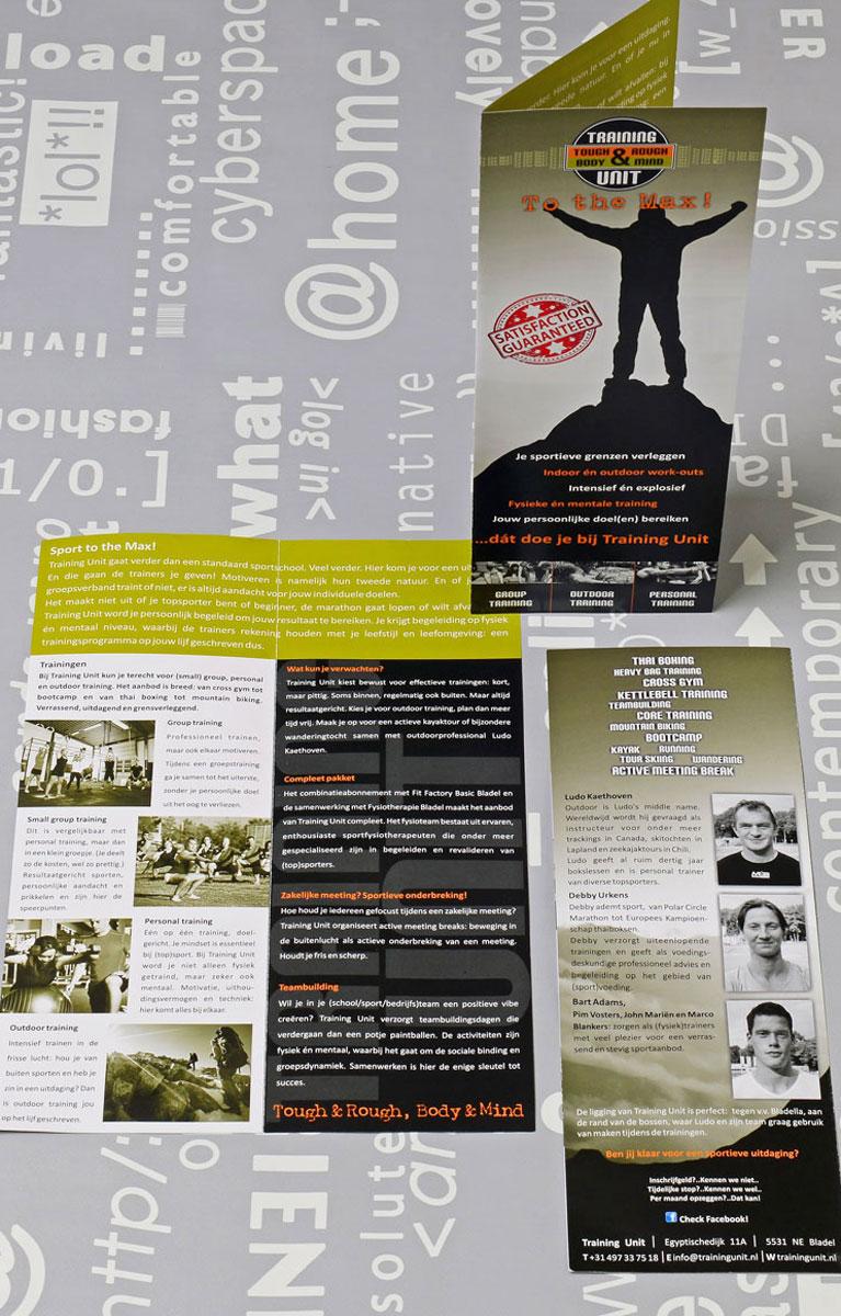 Training Unit, reclame, ontwerp, logo, huisstijl, grafische vormgeving, tekst, DTP, reclame-uiting, brochure, Portfolio