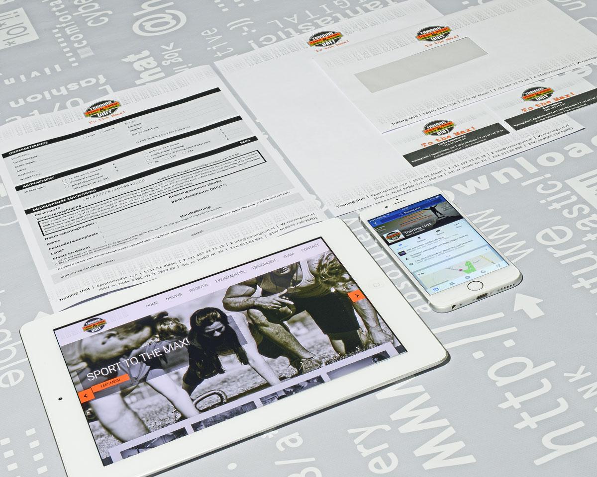 Training Unit, reclame, ontwerp, logo, huisstijl, grafische vormgeving, DTP, logo, huisstijl, visitekaartjes, facebook, Portfolio