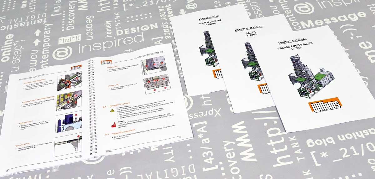 Willems Baling Equipment, Technische documentatie, tekst, illustraties, opmaak, technische handleidingen, portfolio