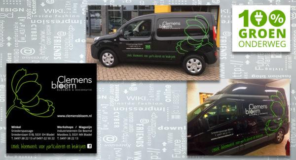 Clemens-Bloem-belettering-wagenpark-bussen-100%groen-logo-identiteit-grafisch-ontwerp-advertentie-reclame-uiting-portfolio-Bladel