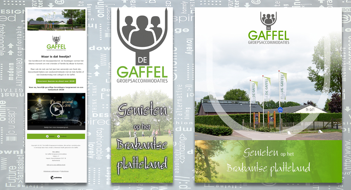 De Gaffel Groepsaccommodaties, nieuwsbrief, banner, vlag, brochure, identiteit, branding, logo, huisstijl, ontwerp, reclame-uiting, portfolio, Bladel