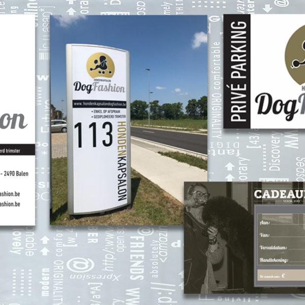 Dog-Fashion-logo-huisstijl-visitekaartje-zuil-raambelettering-cadeaubon-parkeerborden-branding-identiteit-grafisch-ontwerp-reclame-uiting-portfolio