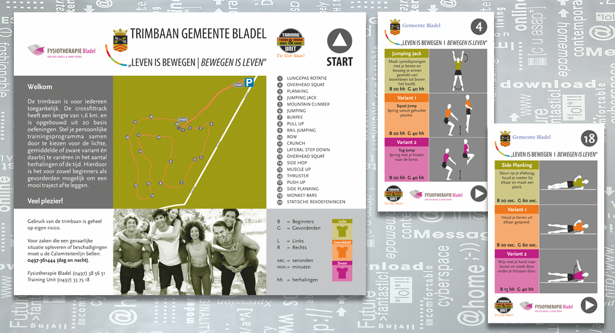 Trimbaan Gemeente Bladel, Training Unit, Fysiotherapie, Reclame, signing, grafisch ontwerp, reclame-uiting, portfolio, Bladel
