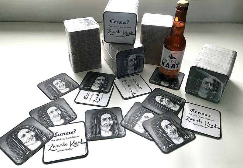 Zwarte Kaat Bierviltjes Ontwerp en illustratie Bladel