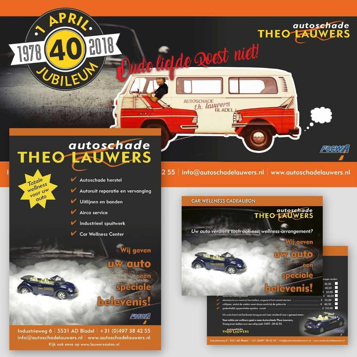 Banner, poster, cadeaubon, kaarten, flyer voor autoschade Theo Lauwers.