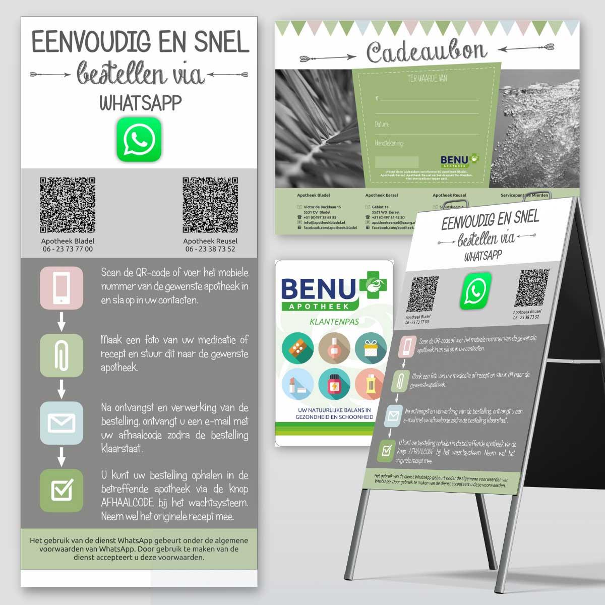 Banner, cadeaubon, klantenpas, stoepbord voor BENU apotheek.