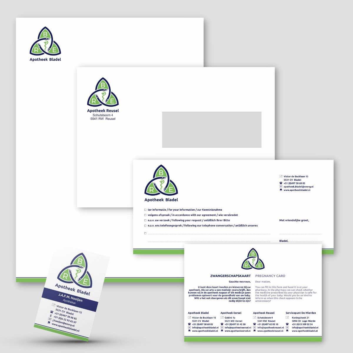 Complete huisstijl, DTP voor BRE apotheken.