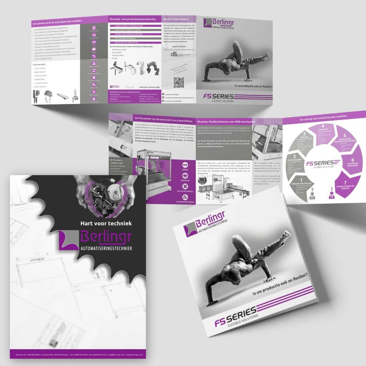 Grafisch ontwerp en DTP van folder, brochure, flyer, poster voor Berlingr.