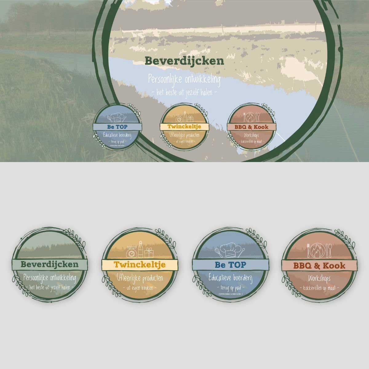 Logo ontwerp voor Beverdijcken, Twinckeltje, Be TOM, BBQ & Kook.