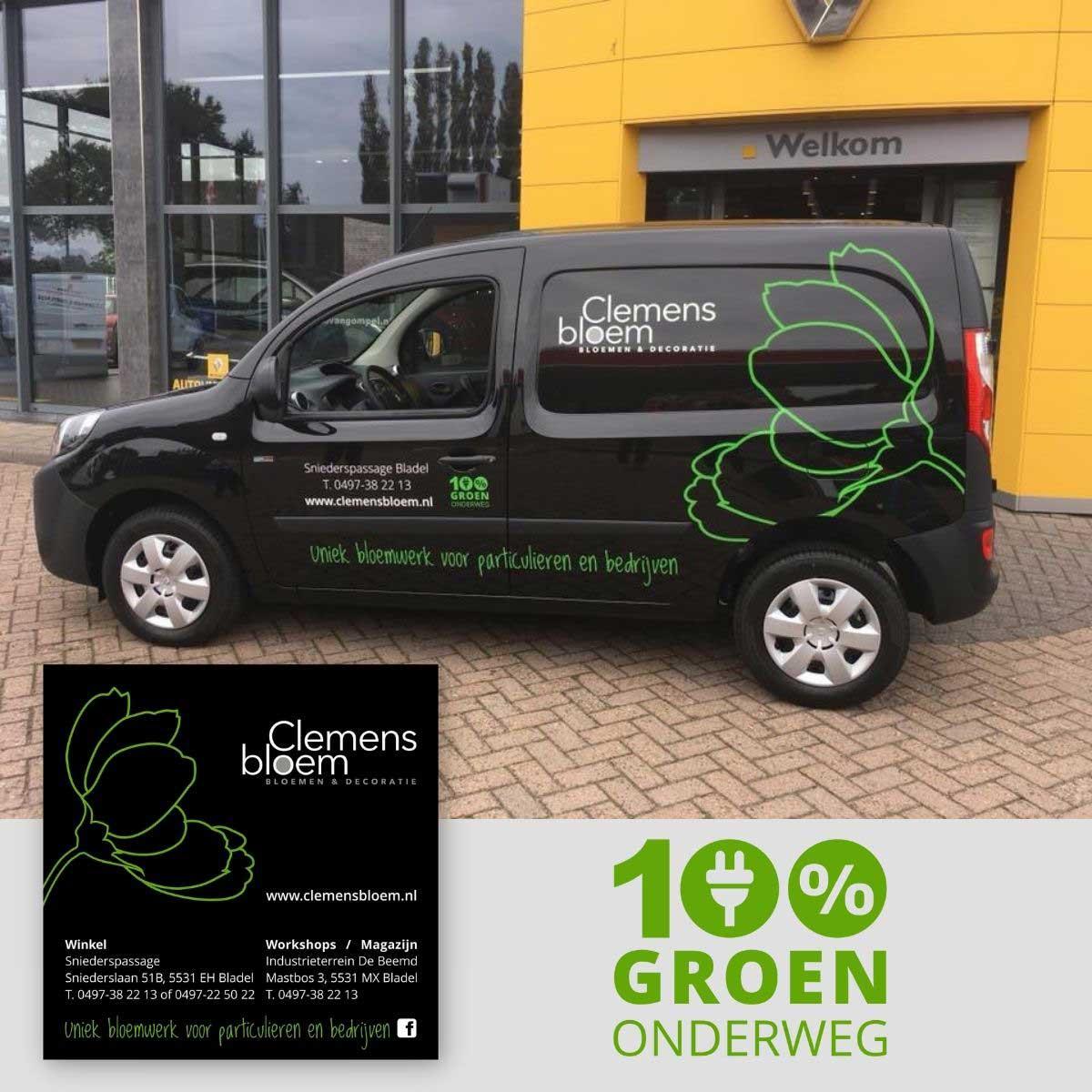 Ontwerp en realisatie van autobelettering, advertentie, logo voor Clemens Bloem.