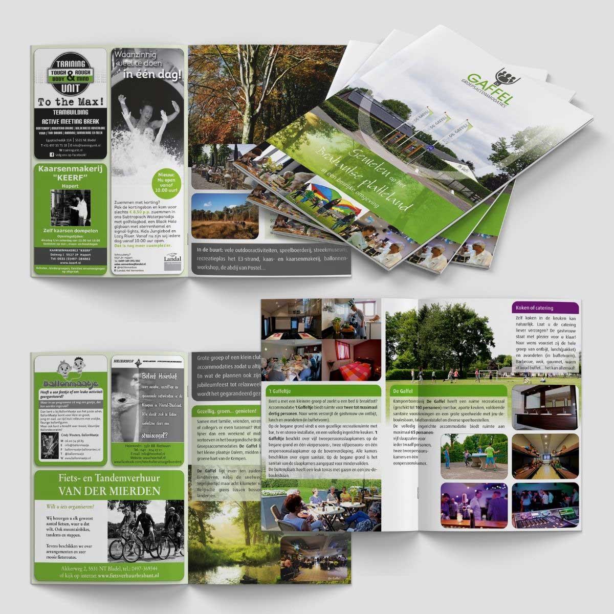 Grafisch ontwerp en DTP brochure groepsaccommodatie De Gaffel Hapert.