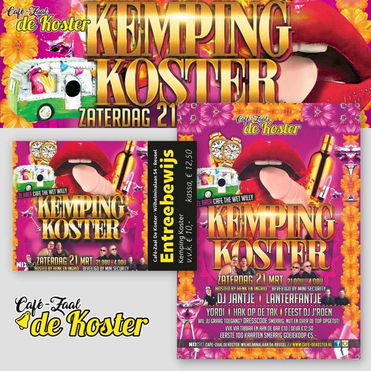 Ontwerp en DTP van banner, poster, entreebewijs, flyer De Koster Reusel.