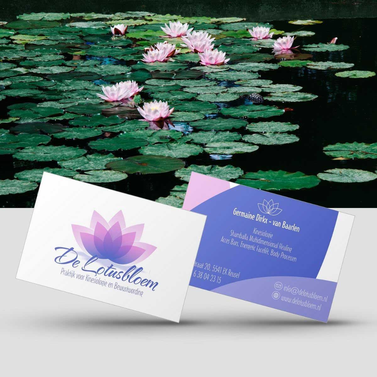 Grafisch ontwerp en DTP logo en visitekaartjes De Lotusbloem.
