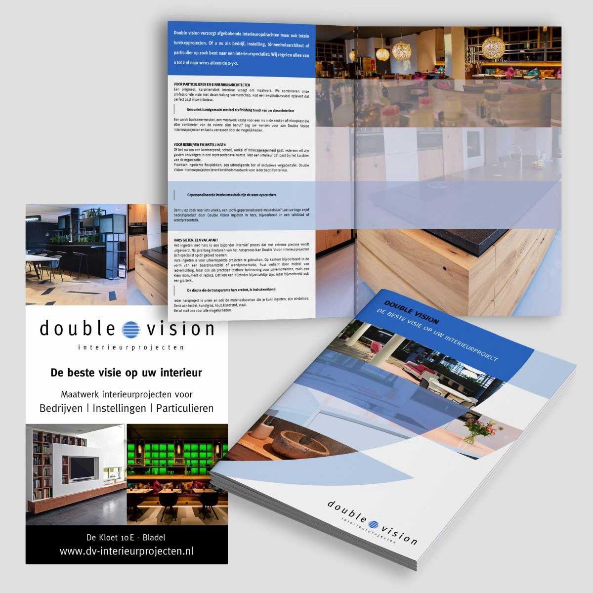 Ontwerp en realisiatie van reclamezuil, offertemap, brochure voor Double Vision Interieurprojecten Bladel.
