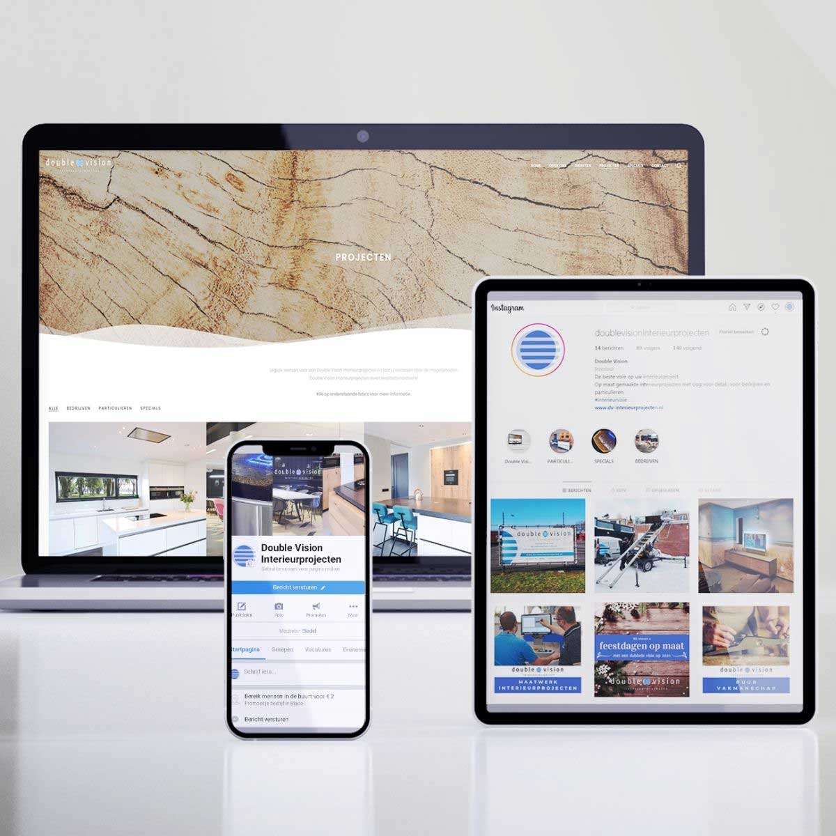 Website en social media, online zichtbaarheid voor Double Vision Interieurprojecten.