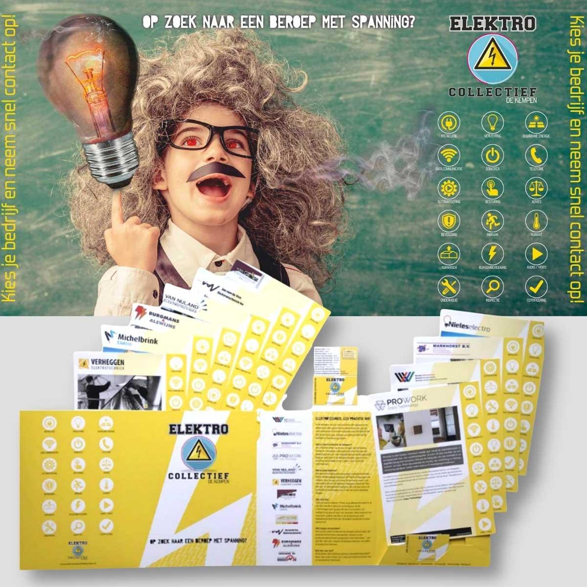 Ontwerp en realisatie van Beursbanner, folder, flyers voor Elektrocollectief Bladel.