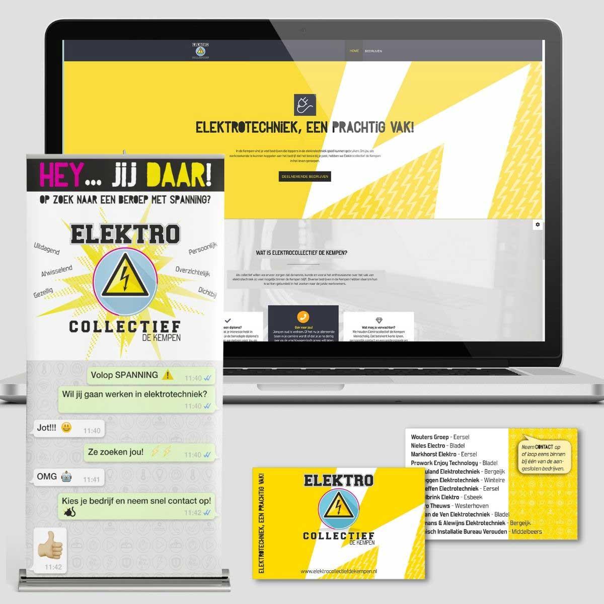 Website ontwerp, roll-up banner, visitekaartje Elektrocollectief Bladel.