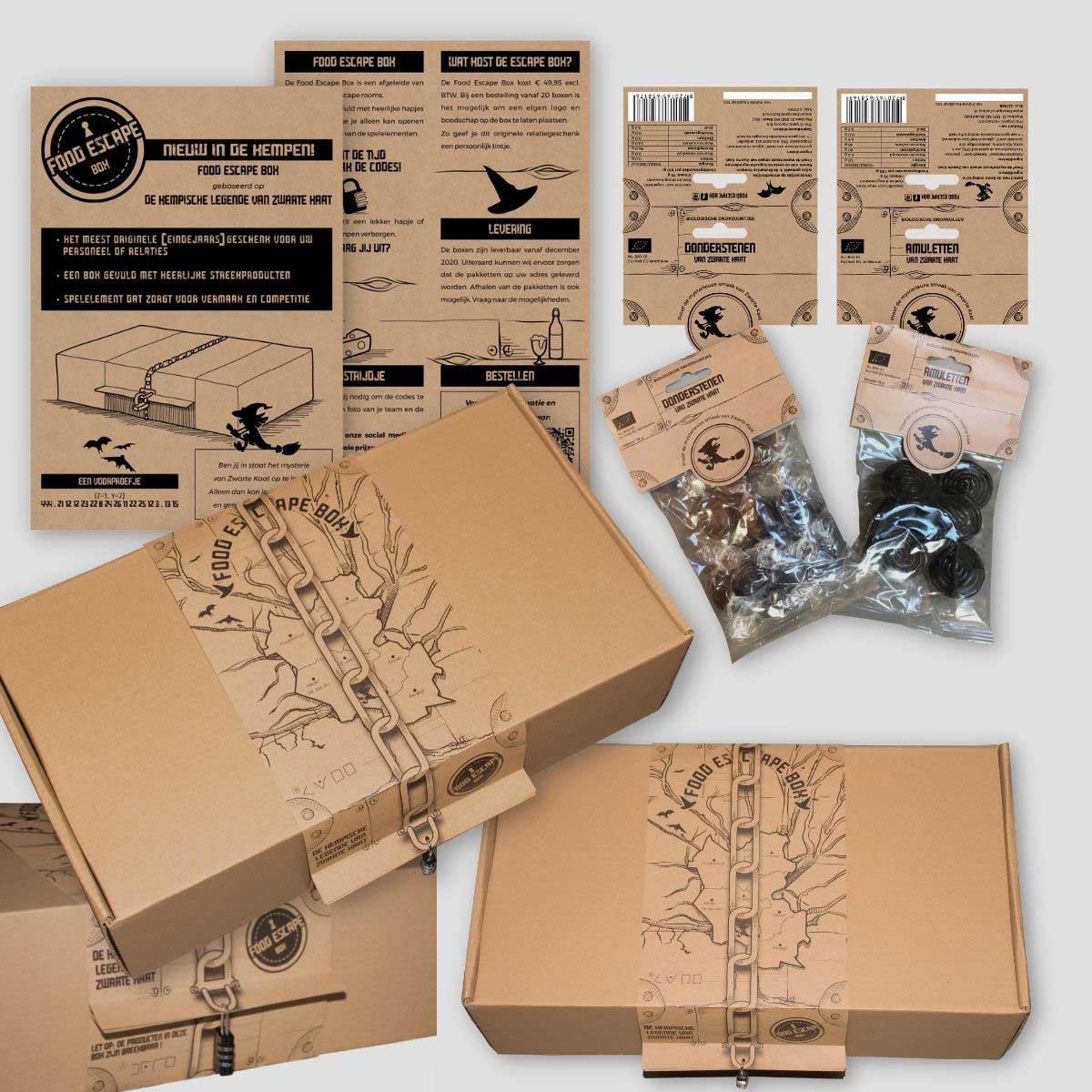Verpakking ontwerp en drukken voor Zwarte Kaat Food Escape Box.
