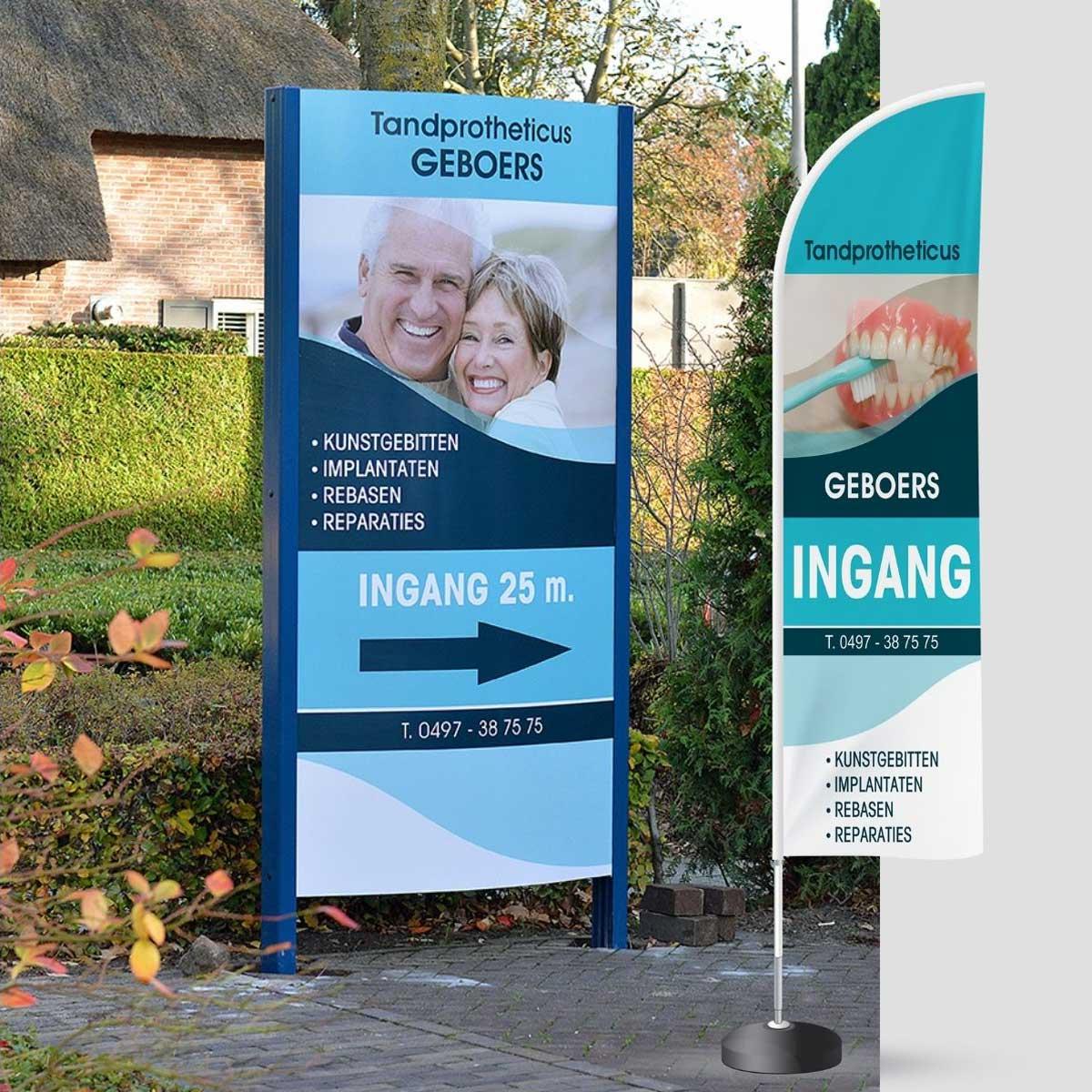 Ontwerp en realisatie van reclamezuil en beachflag voor Geboers Tandprotheticus Hapert.