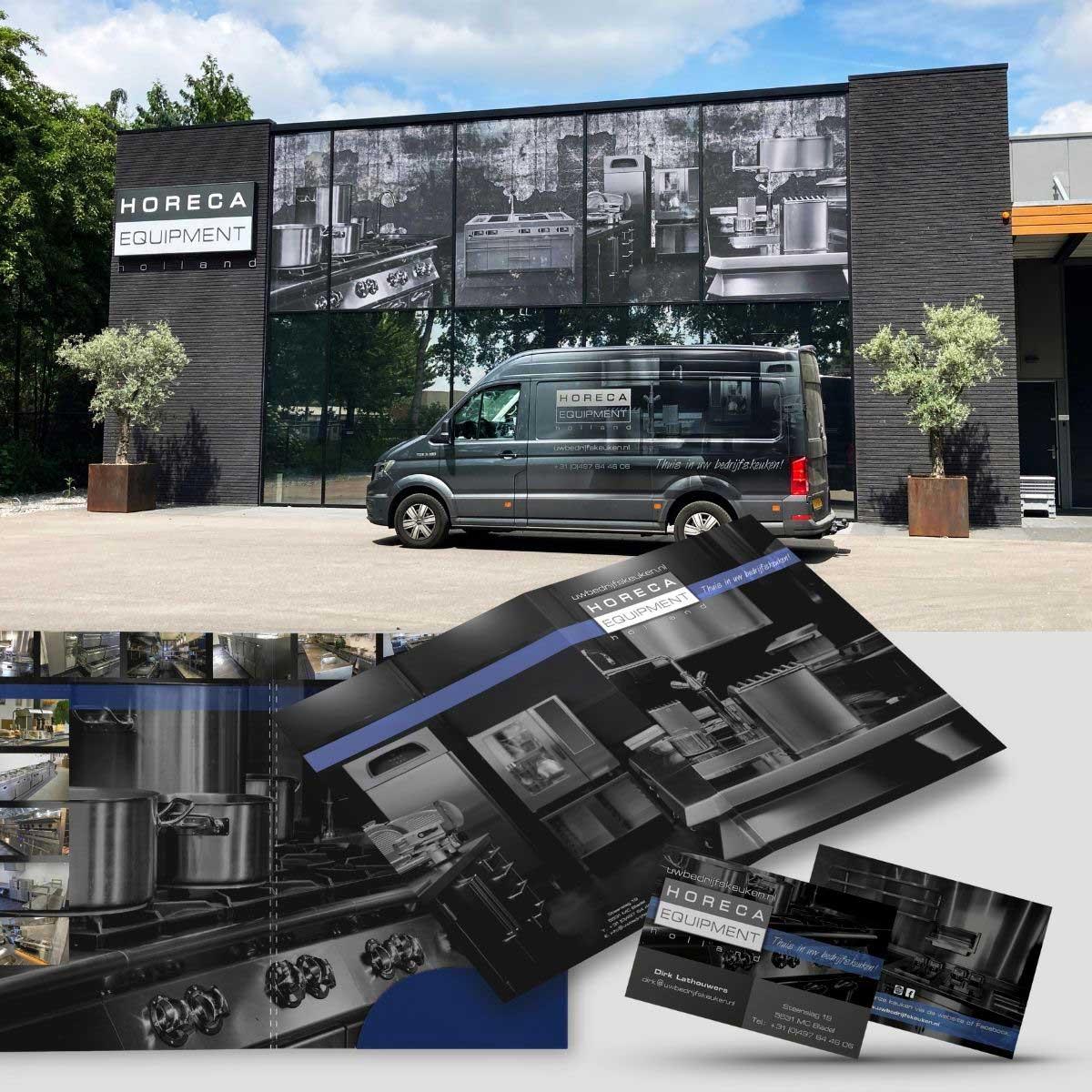 Pandbelettering, brochure, offertemap en visitekaartjes voor Horeca Equipment Holland Bladel.