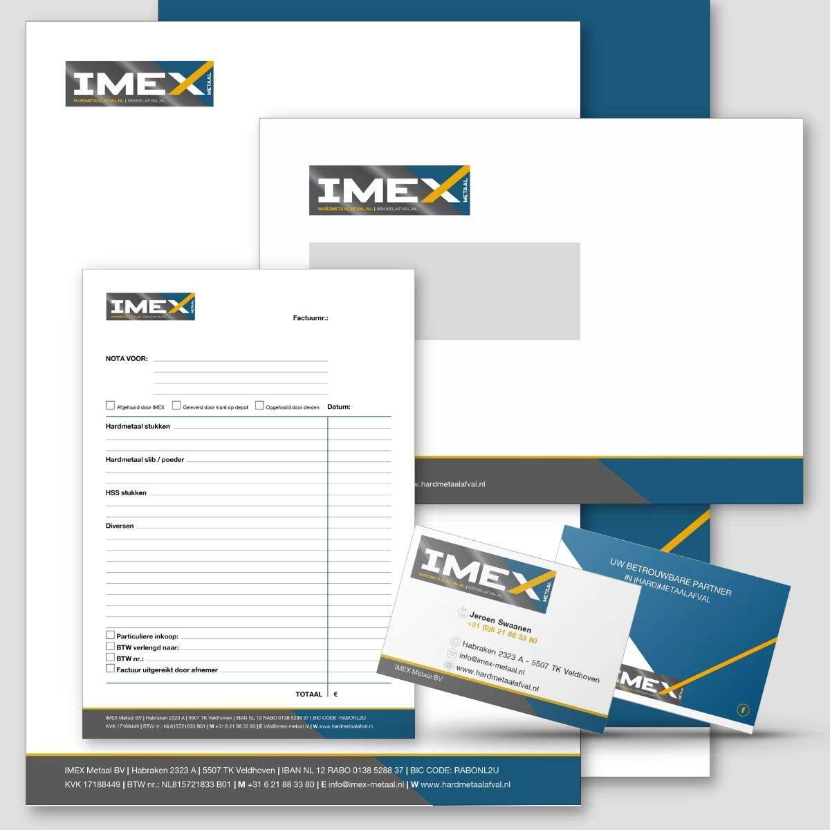 Grafisch ontwerp, DTP en drukwerk huisstijl voor Imex metaal.