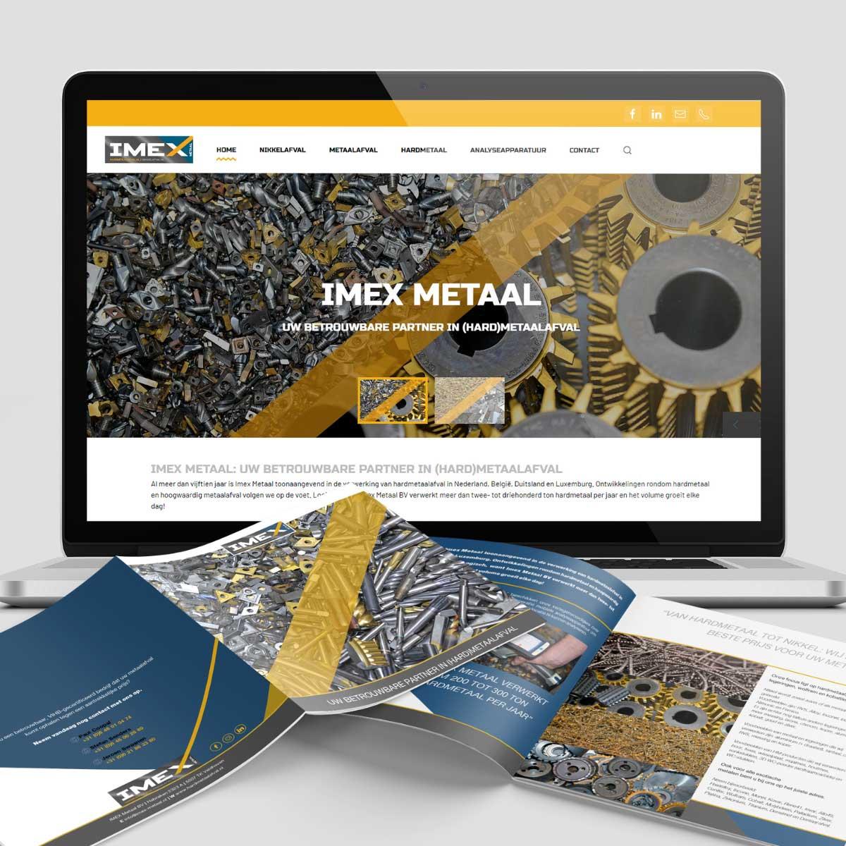 Website en bruchure ontwerp voor Imex metaal, hardmetaalafval.