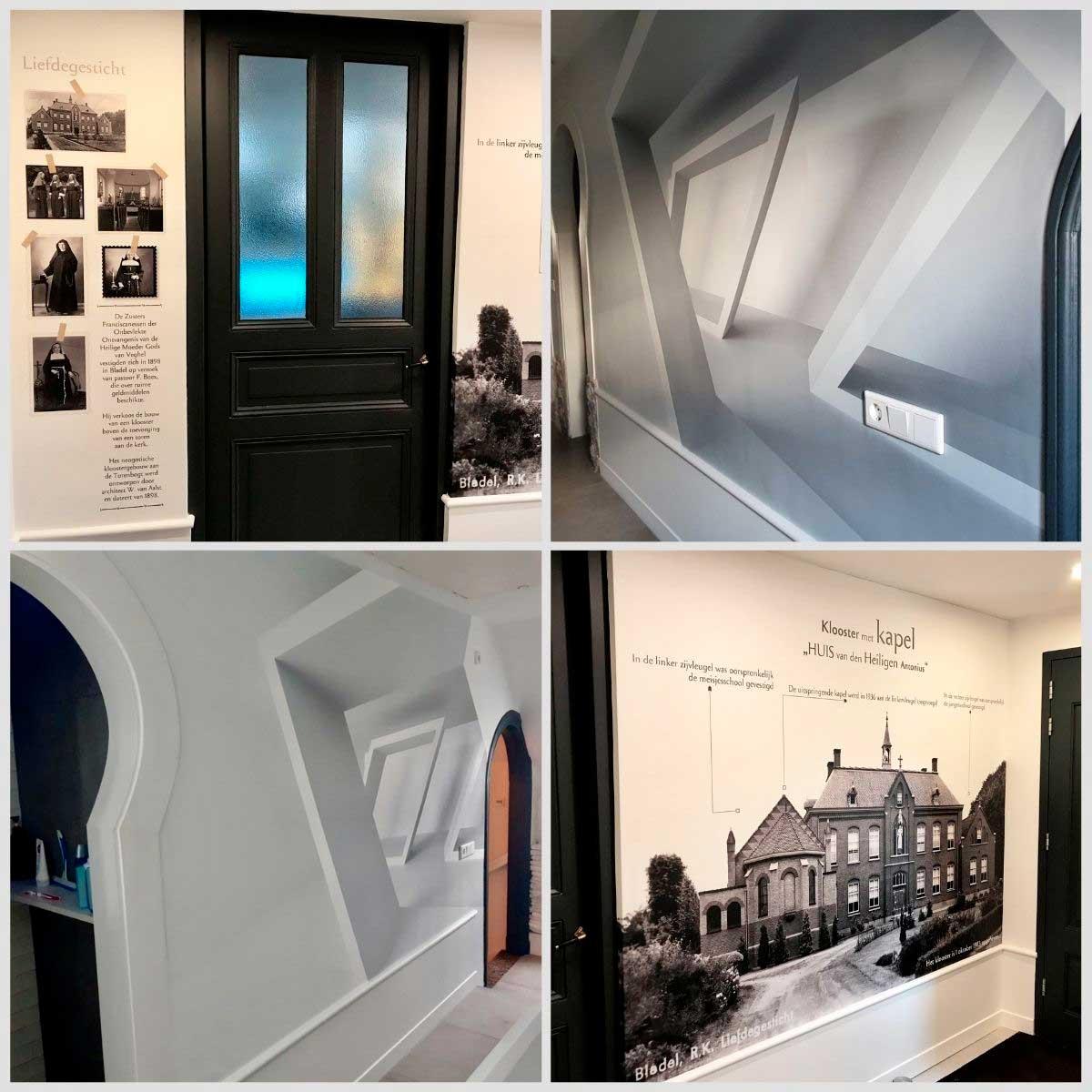Ontwerp en realisatie design fotobehang in badkamer en hal.