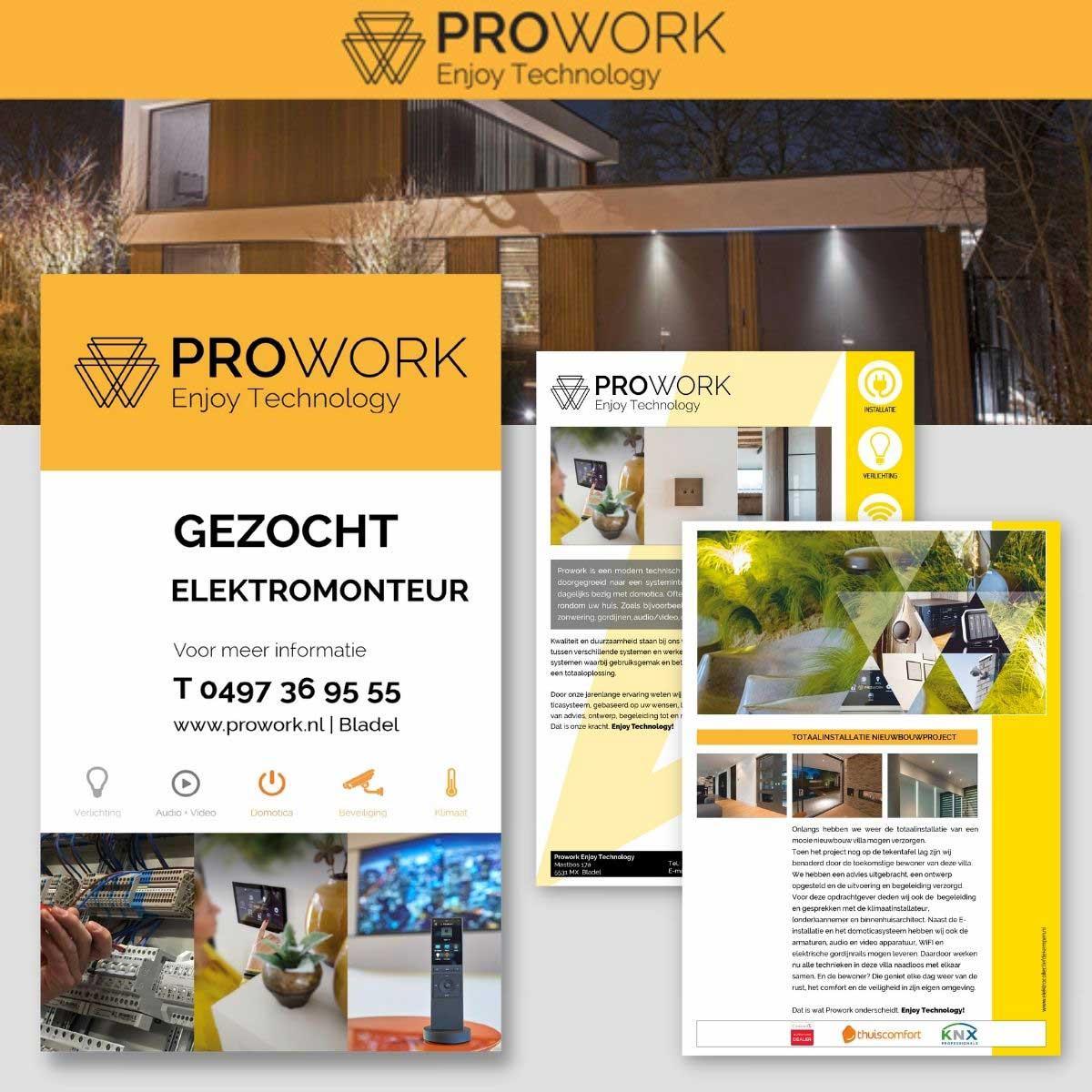 Ontwerp reclamezuil, folder, nieuwsbrief, omslagfoto social media Prowork Bladel.