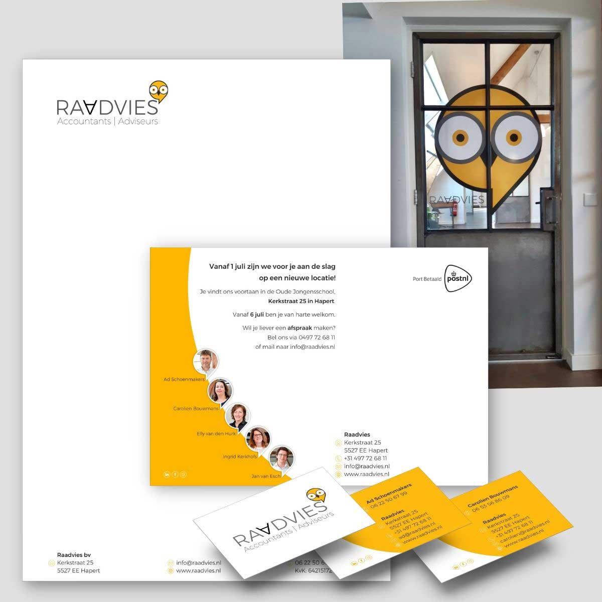 Grafisch ontwerp en DTP huisstijl, uitnodiging, belettering voor Raadvies.
